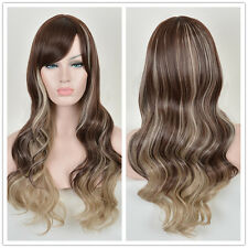 Brown Mixed Highlights Blonde Long curly Wavy Wig Synthetic Hair Wigs