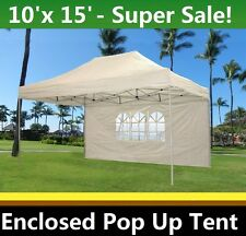 10'x15' Enclosed Pop Up Canopy Party Folding Tent - White - E Model