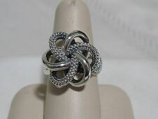 Designer LAGOS S/S Caviar Beaded Love Knot Twist Ring, size 8 1/4