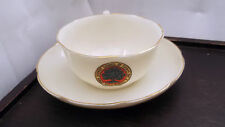 1887 -91  GOSS CRESTED  CHINA  SHAPED CUP AND SAUCER  CRESTED COLWYN BAY