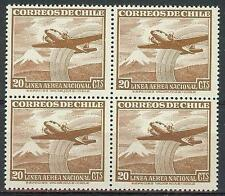 Chile 1951 Sc# C155 Airmail Plane Mountain snow block 4 MNH
