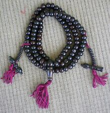 Tibetan Buddhist Prayer Bead Mala 108 Bead Black Bone w/ Dorje Bell Counters