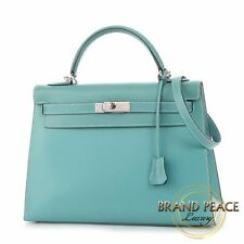 Hermes Kelly 32 outside sewn box calf Blue Jean Silver hardware E stamped
