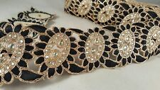 6cm- 1 meter Stunning black & gold embellished diamante lace trim for crafting