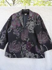 Chico's 3 Jacket Misses XL Poly Blend Black Silver Purple Tapestry Lined MINT