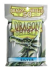 50 PROTECTIVE SLEEVES Silver Argento MTG Dragon Shield