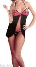 Black & Pink Peephole Babydoll & Thong UK 10 - 12 Sexy New in gift box Lingerie