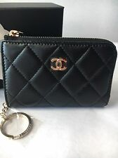 Auth BNIB Chanel Classic CC O-Card Holder Coin Purse Zip Pouch Wallet Key Holder