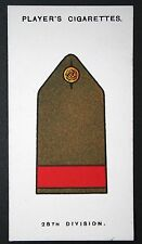 28th Division  British Army   World War 1  Salonika Front   INSIGNIA CARD ## VGC