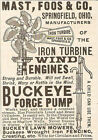1891 MAST FOOS IRON TURBINE WIND ENGINE WINDMILL AD BUCKEYE SPRINGFIELD OH OHIO
