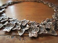 Silver Metal Ivy Leaf Statement Necklace Nickel Free 21.5""
