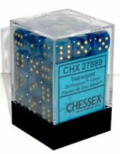 Chessex Dice (36) Block Sets 12mm D6 Phantom Teal / Gold Pips 36 Die CHX 27889
