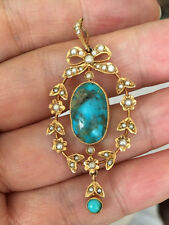 Fine Antique Victorian 9ct Gold Turquoise, Seed Pearl Pendant