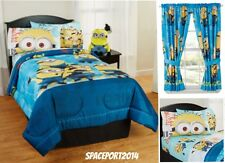 8pc DESPICABLE ME Minions Twin-Single COMFORTER+SHEETS+CURTAINS SET Bed in a Bag