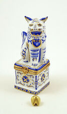 NEW FRENCH LIMOGES BOX BLUE CHINESE FOO DOG GUARDIAN LION & FORTUNE COOKIE