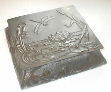 ANTIQUE ART NOUVEAU TIN DRAGONFLY LILYPAD POND BULLRUSH ORGANIC FLOWING DESIGN