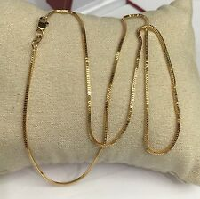18k Solid Yellow Gold Italy Box Chain/Necklace Dimond Cut. 16 Inches. 2.22 Grams