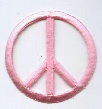 """Iron On Embroidered Applique Patch 2"""" Pink Peace Sign 694066C"""