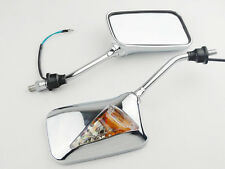 Motorcycle new Chrome Square Rearview Side Mirror W/ Turn Signal Light Indicator