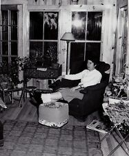 Old Antique Vintage Photograph Woman With Feet Up in Retro Garden Room