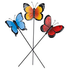 Resin Butterfly Planter Stake Set of 3 Garden Lawn Yard Art Ornament Outdoor C
