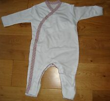 BNWT Pretty Baby Girls Organic Bamboo White/Rose Spot Baby Grow - Newborn