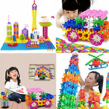 100 X Child Kid Plastic Multicolor Snowflake Building Blocks Educational Toys