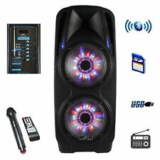 "2x10"" BEFREE SOUND WOOFER BLUETOOTH PORTABLE PA PARTY DJ SPEAKER w/t LIGHTS &MIC"