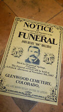 Doc Holliday,DEAD, OK Coral  WILD WEST POSTERS, Novelty reproductions,