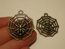 10 spider charms pendants bronze antique jewellery making wholesale craft UK