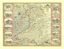 WALES  Framed Replica J.Speed 1610  Old  map ALL HAND COLOURED Nice Welsh Gift