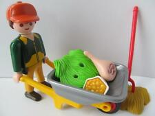 Playmobil man zoo keeper figure with wheelbarrow & food NEW