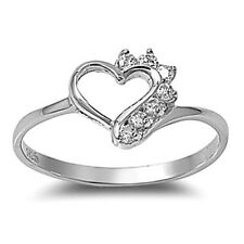 .925 Sterling Silver Ring size 6 CZ Round cut Heart Midi Knuckle Ladies New x34