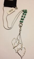 Large abstract metal Hearts  pendant and long Chain necklace lagenlook