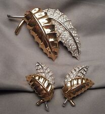 Vintage Pennino Leafy Spray Brooch & Earrings Set - 2 Tone with Rhinestone Pave