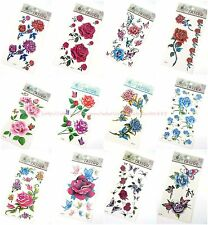 10 sheets temporary tattoo neck thigh leg ankle back rose flower butterfly