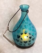 Vintage look~Blue heart design frosted glass lantern with LED candle-NEW