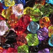 25g 4mm Acrylic Plastic Transparent Faceted Bicone Beads - Mixed - A5214