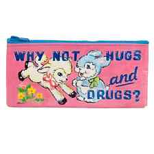 """Blue Q """"Why Not Hugs & Drugs"""" novelty pencil case eco recycled by Magda Archer"""