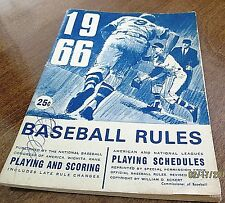 1966 Official Baseball Rules Publication-Playing & Scoring And Playing Schedules