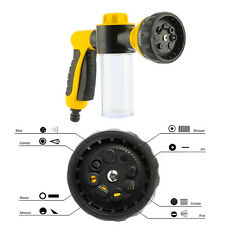 8 Spray Pattern Adjustable Water Gun&Soap Dispenser Hose Nozzle Car Wash Yellow
