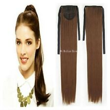 Human Hair Blended Ribbon Ponytail - Medium Brown