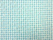 DAISY GINGHAM TURQUOISE BLUE FLORAL CHECK DRESSMAKING CRAFT CURTAIN FABRIC C4594