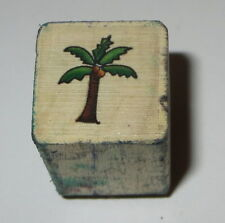 Palm Tree Rubber Stamp Tropical Vacation Mini Coconuts Wood Mounted