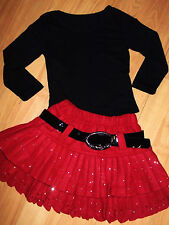 GIRLS BLACK TOP & RED SPARKLE PRINT WOOLLY WINTER OCCASION PARTY SKIRT age 8-9