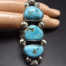 HUGE Signed NAVAJO Sterling Silver & TURQUOISE RING, size 8.5