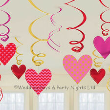 12 Red + Pink Hearts Swirls/Cutouts Hanging Decorations Engagement Party Wedding