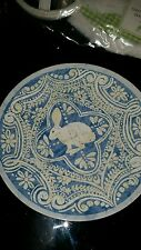 Pottery Barn Easter Graphic bunny aqua turquoise salad dessert plates S/4 New
