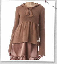 ODD MOLLY BRONZE MOHAIR BLEND KNITED HOODED SHORT JUMPER WITH TASSEL#829-SIZE 1