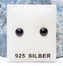 NEU 925 Silber OHRSTECKER flache 5mm PERLEN in schwarz OHRRINGE halbrund